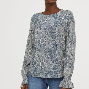 NEW! Morris & Co. x H&M Blouse with Smocking Blue